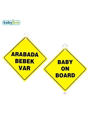 Baby Jem Babyjem Araba Cam Yazısı Dikkat Bebek Var Sarı